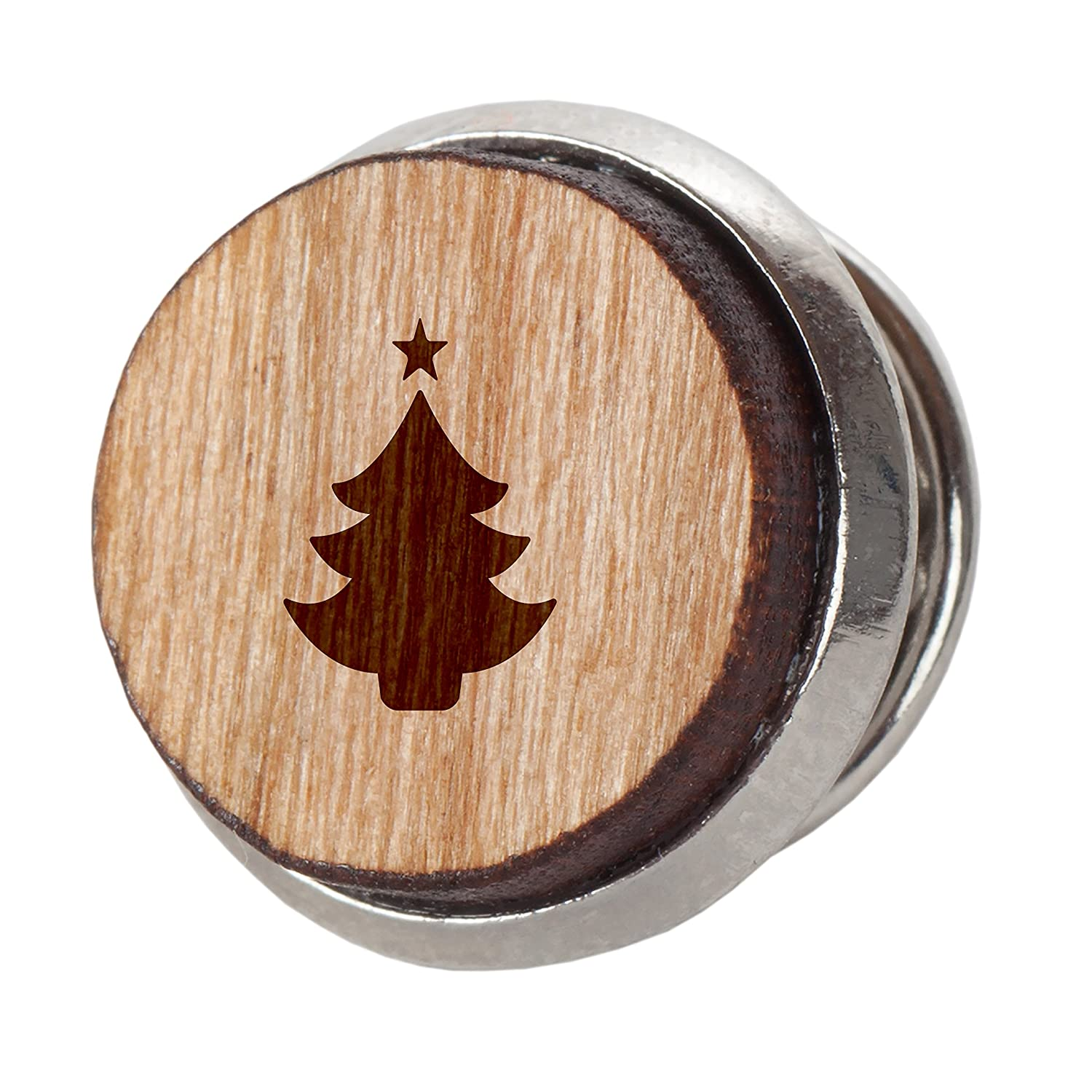 Christmas Tree Stylish Cherry Wood Tie Tack 12Mm Simple Tie Clip with Laser Engraved Design Engraved Tie Tack Gift