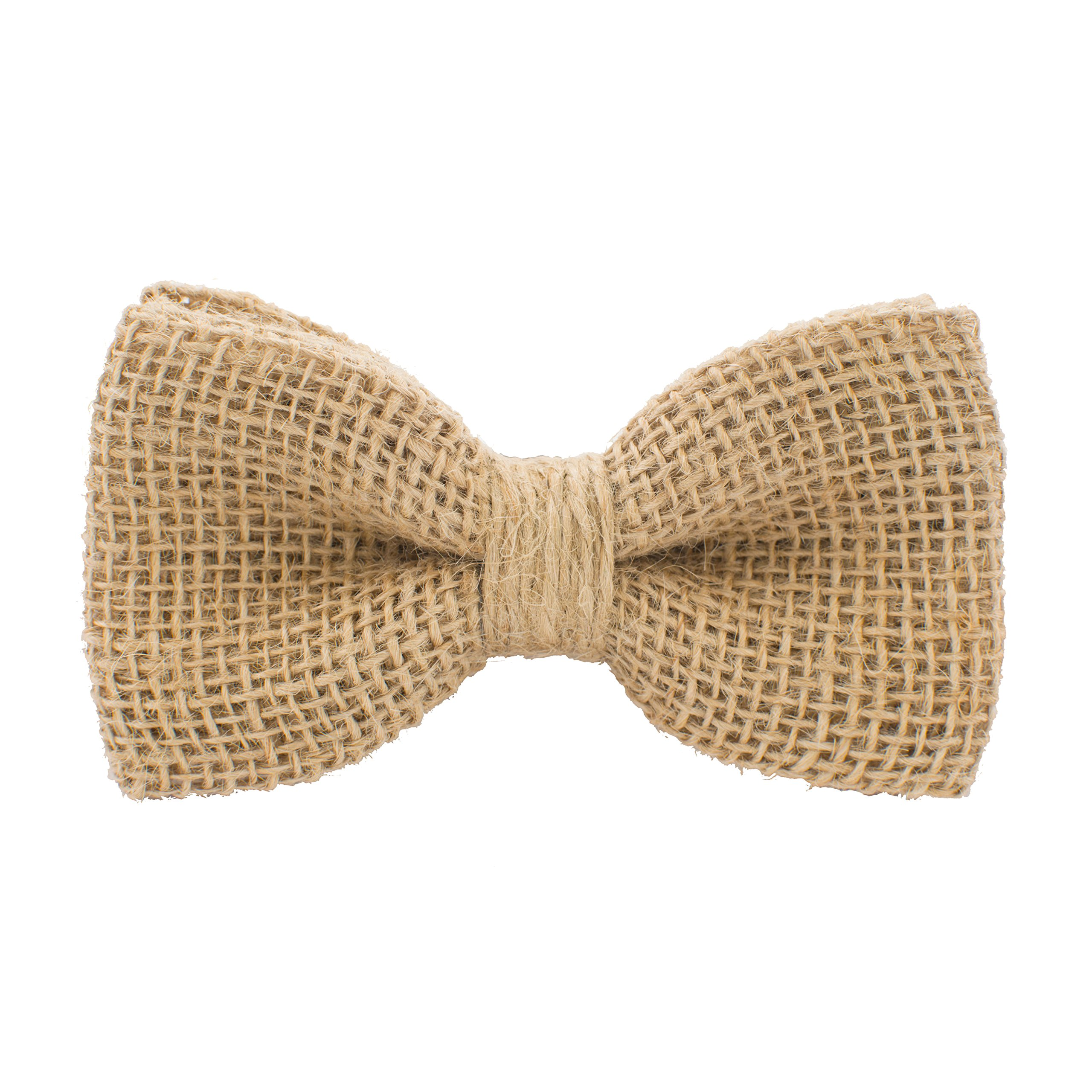 Bow Tie House Rustic Pre-Tied Bow Tie in 100% Burlap Hessian (Beige, Small)