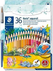 Lápis de Cor Aquarelável, Staedtler, Noris, 144 10ND36, 36 Cores + 1 Pincel