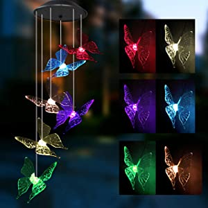Joiedomi Solar Butterfly Wind Chime Color Changing 2 Pack, Outdoor Hanging Decorative Garden Lights Xmas Gifts for Decor Home Garden Patio Yard Indoor Outdoor
