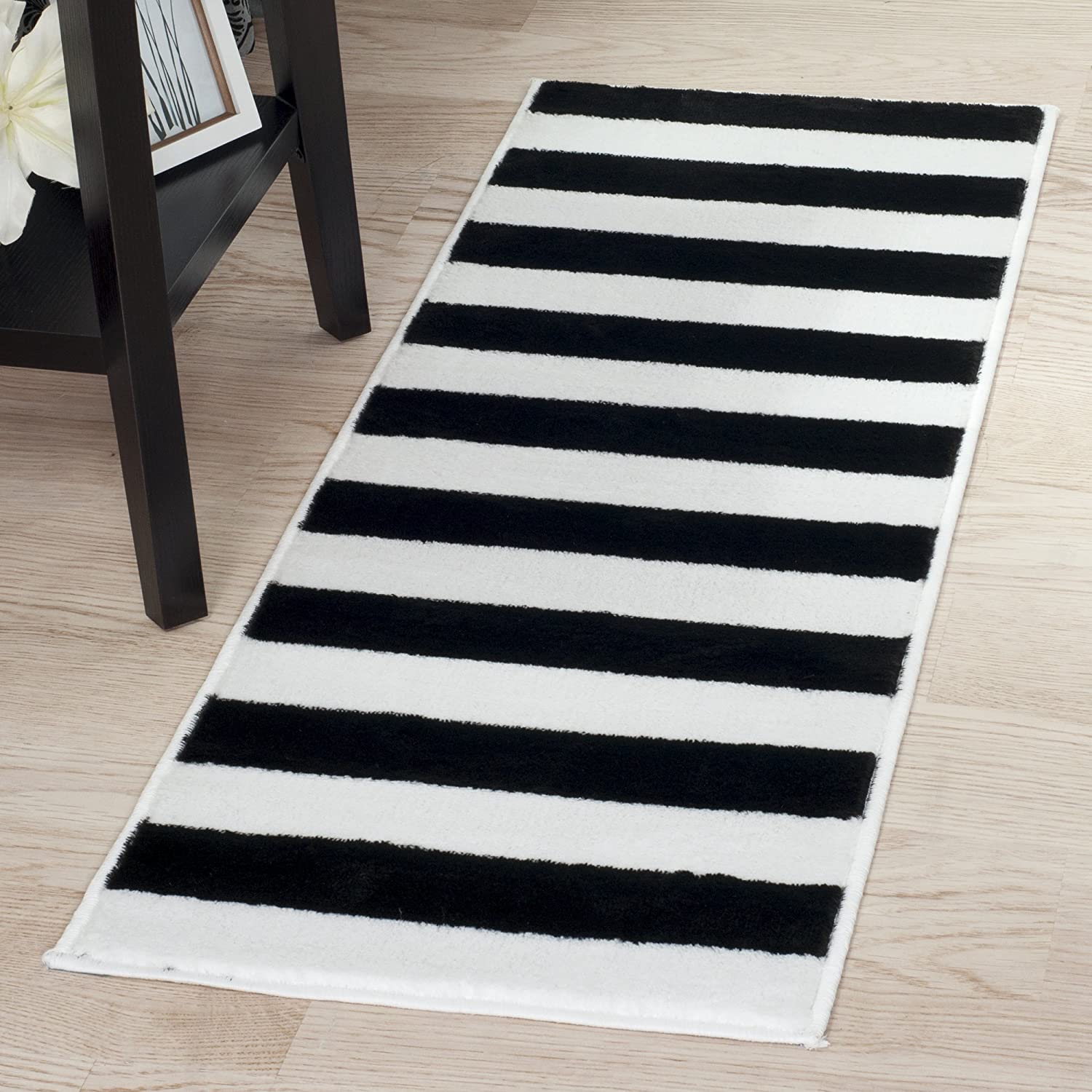 wool rug black rugs rugtastic white oskar products felted and striped