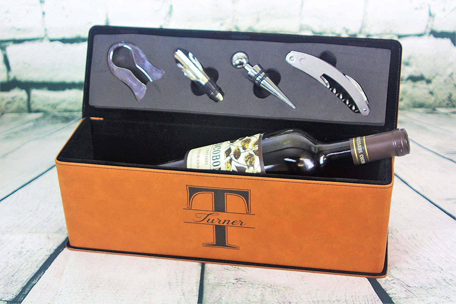 Personalized Leather Wine Gift Box with 4-Piece Wine Tool Set