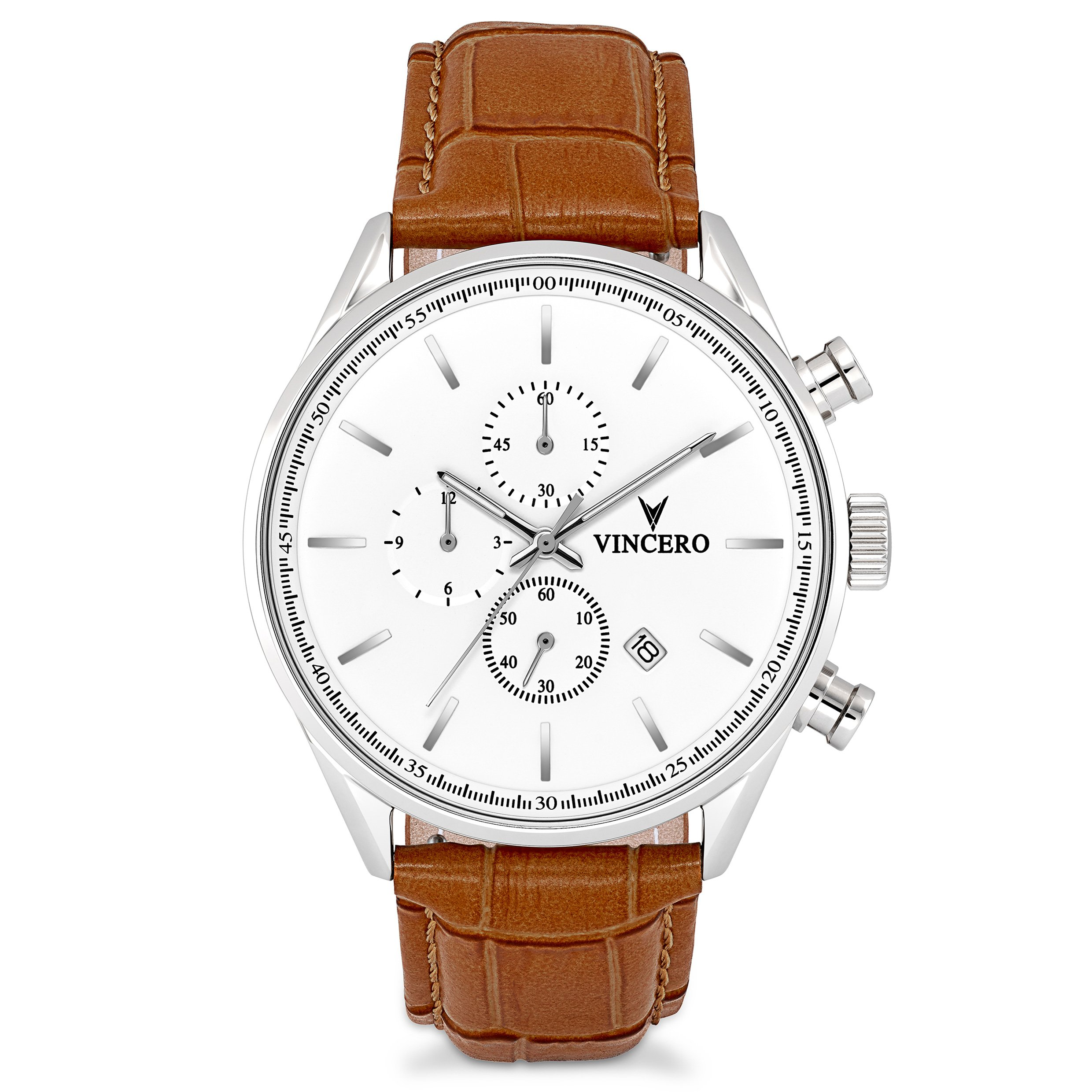 Vincero Men's Chrono S Watch - Silver/Tan with Leather Band by Vincero
