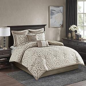 Madison Park Odette 8 Piece Jacquard Comforter Set, Queen, Tan