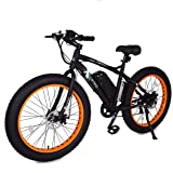 ECOTRIC Fat Tire Electric Bike Beach Snow Bicycle 4.0 inch Fat Tire ebike 500W Electric Mountain Bicycle with Shimano 7 Speeds Black/Orange Lithium Battery Electric Mountain Bicycle