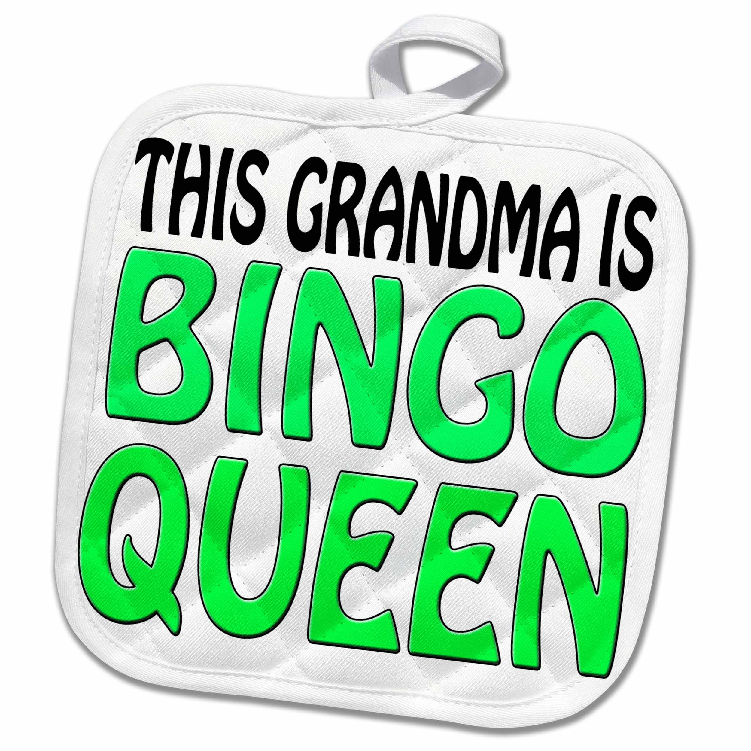 3dRose EvaDane - Funny Quotes - This grandma is bingo queen, Lime green, 8x8 Potholder (phl_149772_1) by 3dRose