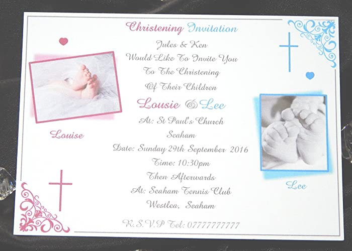 25 50 75 or 100 x personalised christening baptism invitations