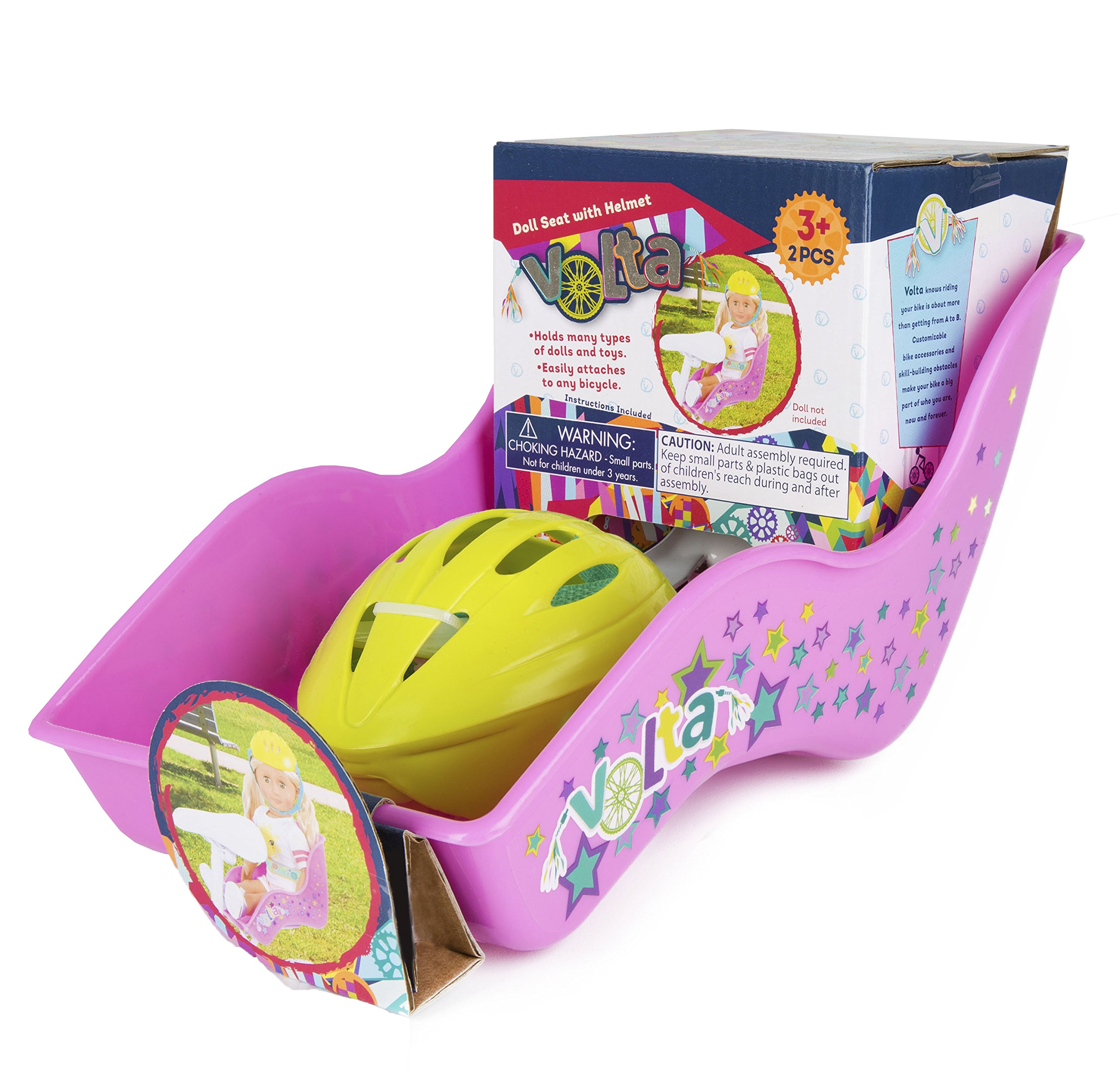 Volta Doll Seat and Helmet – Securely and Safely Carry Your Favorite Doll Wherever You Go – Easily Attaches to Seat Post of Nearly Any Bike – Simple to Remove – For Ages 3 and Up