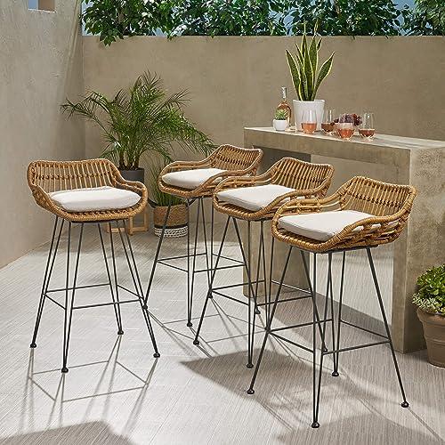 Candance Outdoor Wicker Barstools