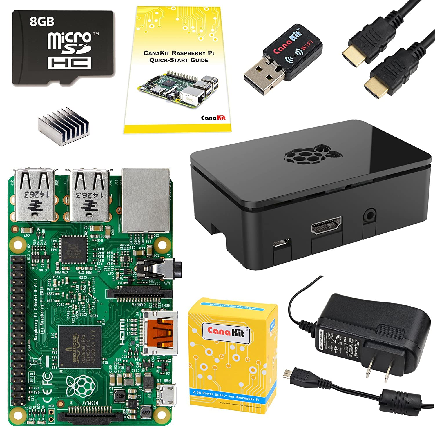 Canakit Raspberry Pi 2 Complete Starter Kit 9 Items Science Notebooking Electrical Circuit Boxes And Online Game Love Computers Accessories