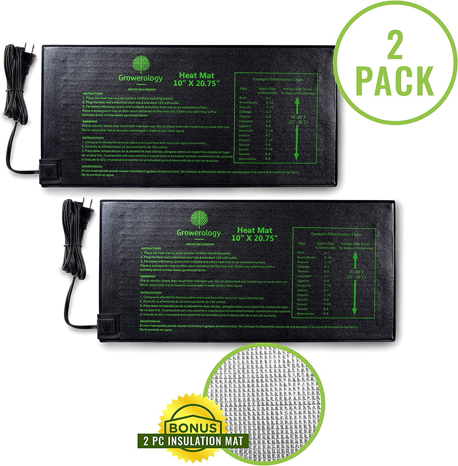 "Growerology Seedling Heat Mat (2 Pack: 10"" x 20.75"") for Seed Germination, Hydroponics and Plant Propagation - MET Certified Plant Heating Pad for Indoor and Outdoor Home Gardening Seed Starter Kit"