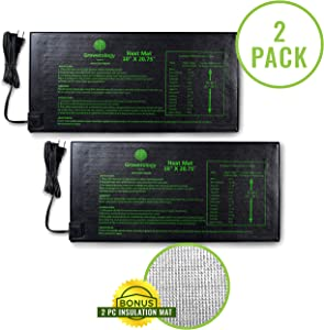 """Growerology Seedling Heat Mat (2 Pack: 10"""" x 20.75"""") for Seed Germination, Hydroponics and Plant Propagation - MET Certified Plant Heating Pad for Indoor and Outdoor Home Gardening Seed Starter Kit"""