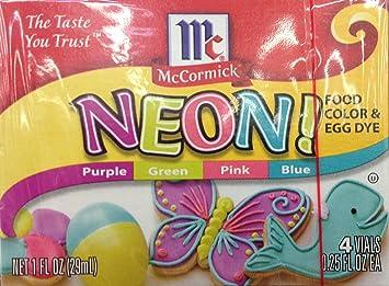 Amazon.com : McCormick, Neon Food Coloring & Egg Dye, 1oz Box (Pack ...