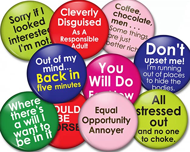 Amazoncom 10 Count Funny Button Magnet Lot Quotes Funny Sayings