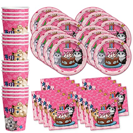 Amazon Kitty Cat Pink Kitten Birthday Party Supplies Set Plates Napkins Cups Tableware Kit For 16 By Galore Toys Games