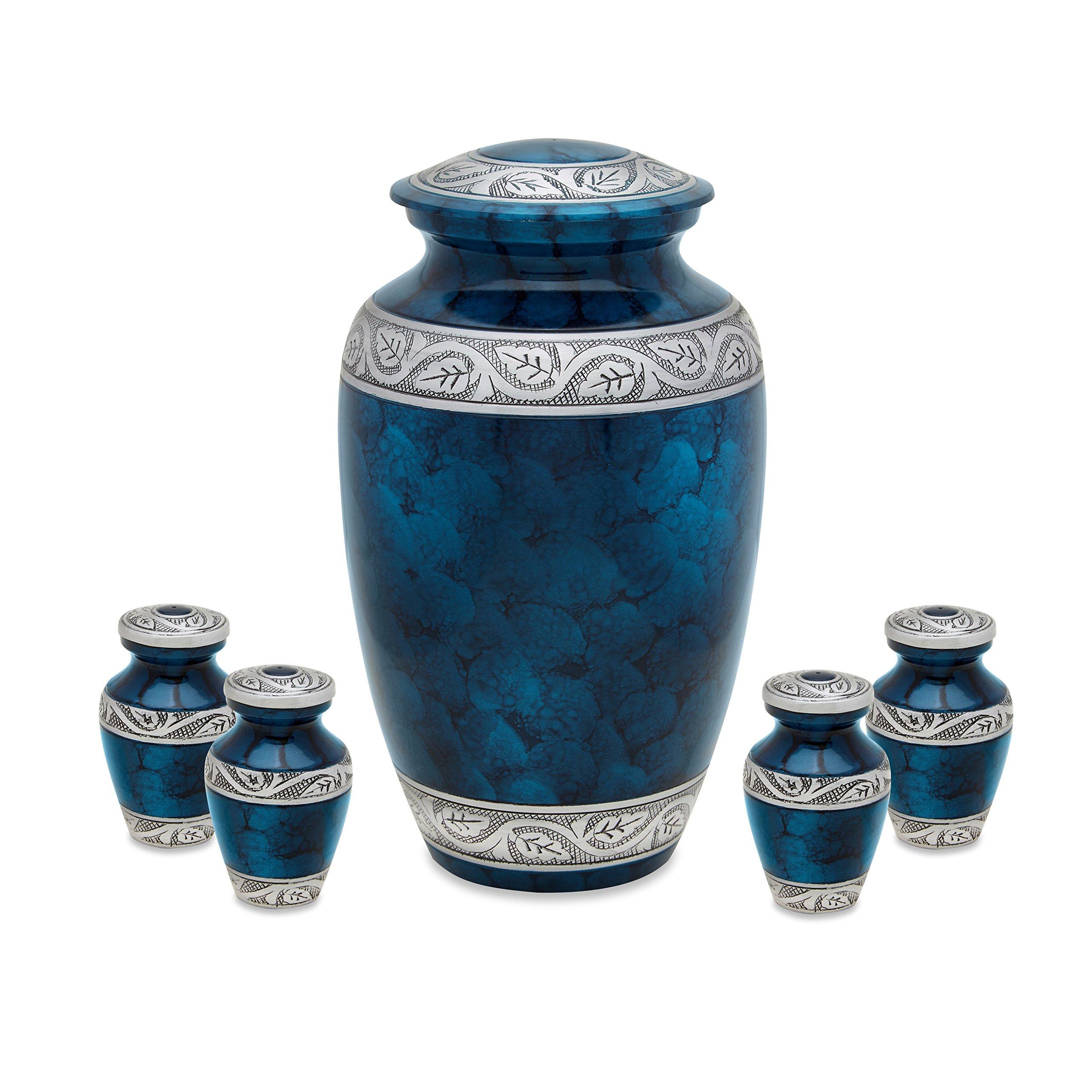 Middleton Blue Adult Urn with 4 matching keepsake token urns by UrnsDirect2U