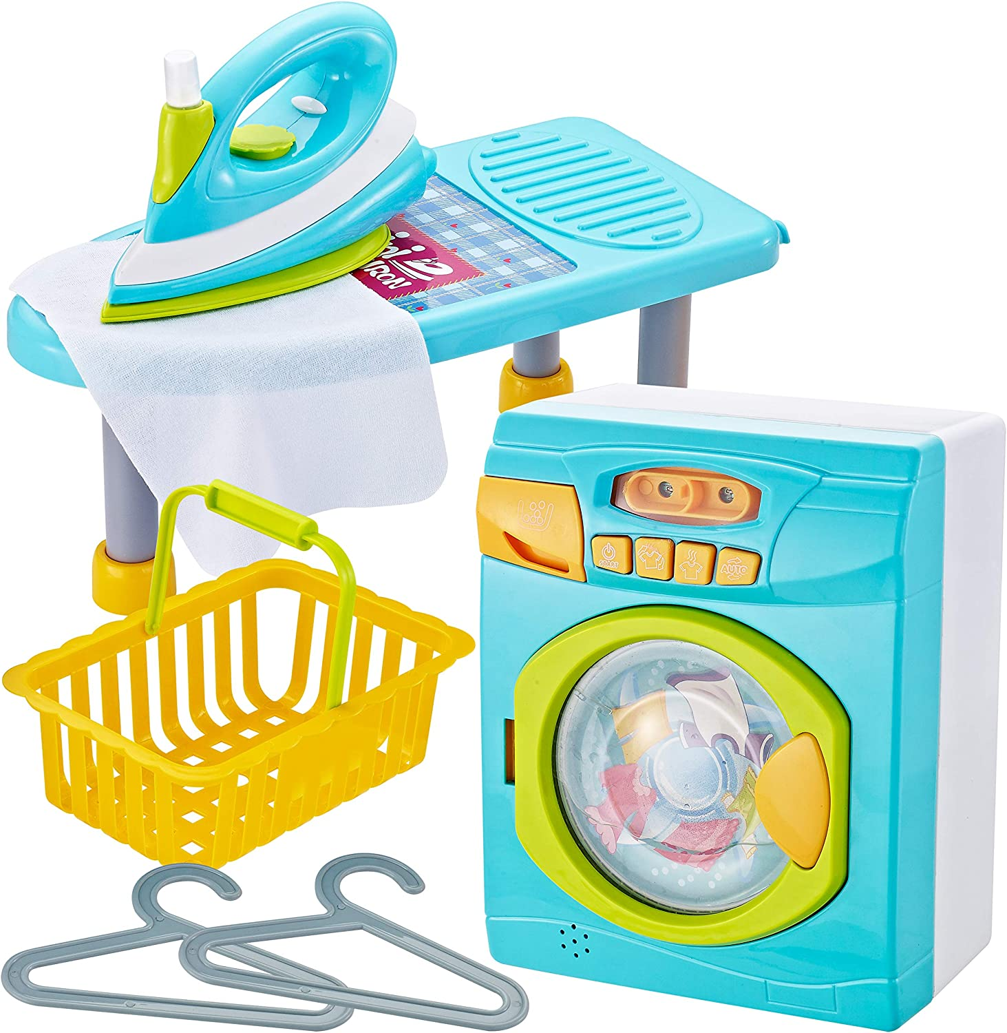JOYIN Realistic Mini Laundry and Ironing Board Housekeeping Cleaning Toy Playset for Kids and Toddler Pretend Play Toy Set