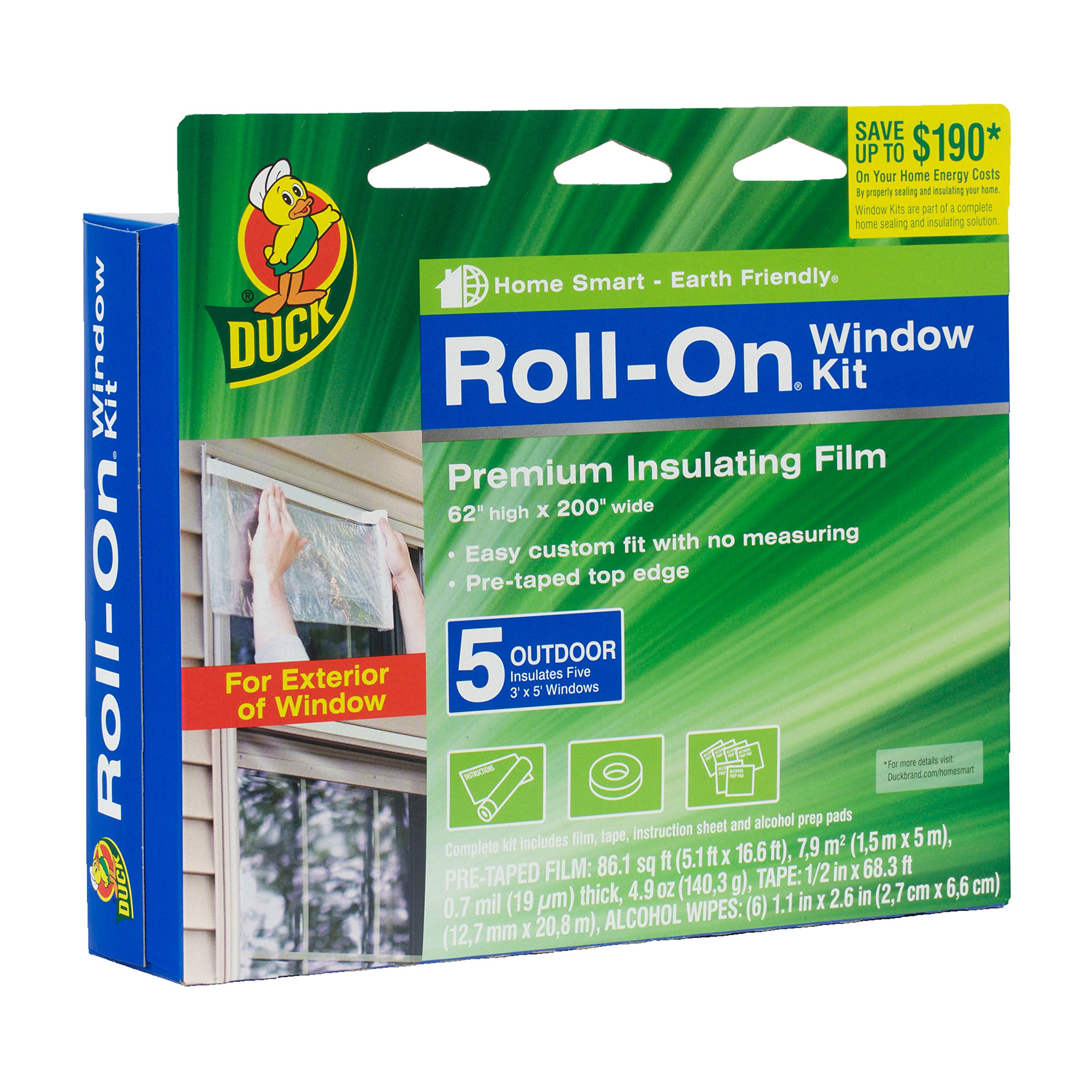 Duck Brand Roll-On Outdoor 5-Window Premium Insulating Film Kit, 62-Inch x 200-Inch, 281072 by Duck