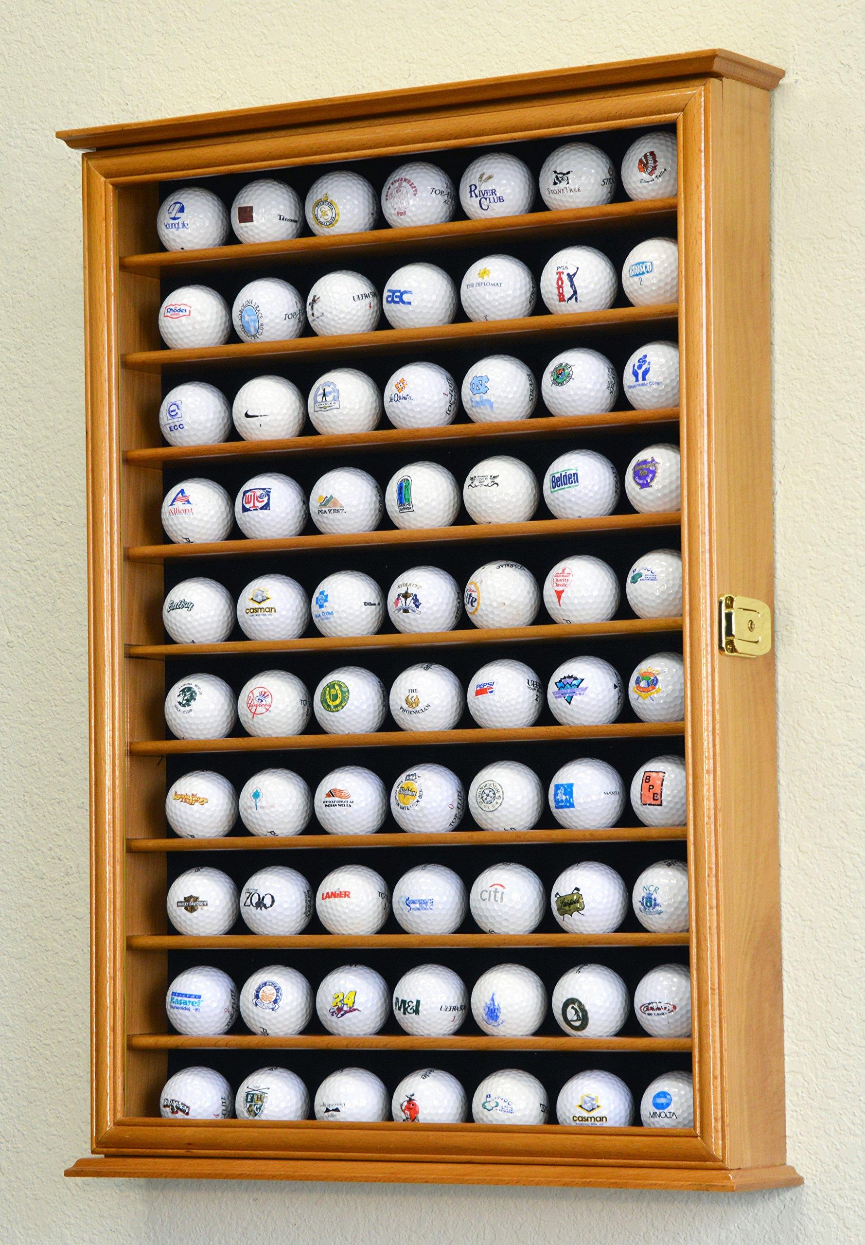 70 Golf Ball Display Case Cabinet Holder Wall Rack w/ UV Protection -Oak