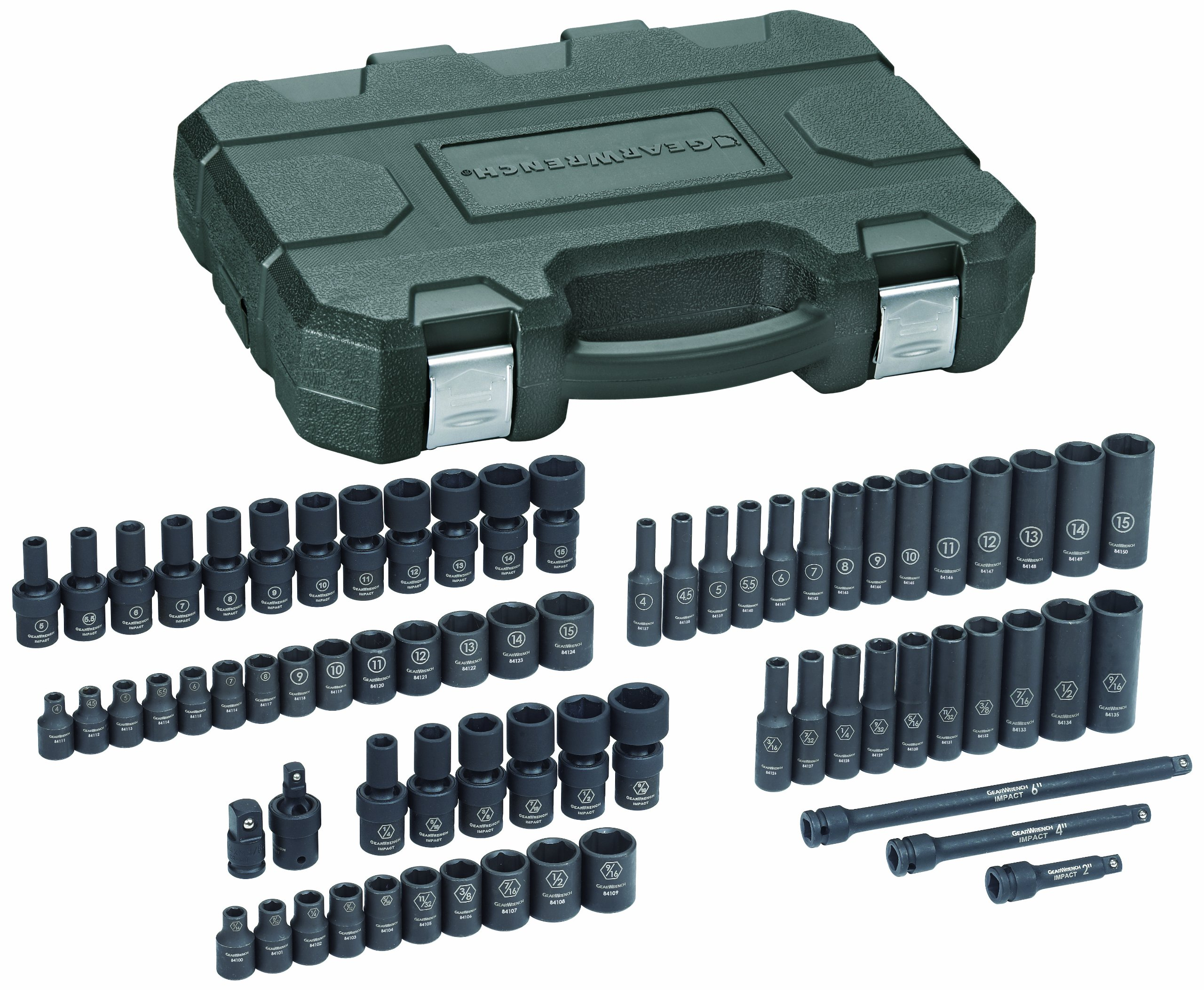 GEARWRENCH 71 Pc. 1/4'' Drive 6 Point Standard & Deep Universal Impact SAE/Metric Socket Set - 84903 by GearWrench