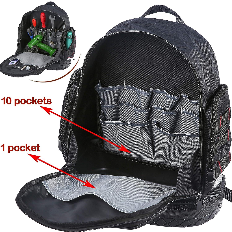 Electrician Tool Bag Backpack with Waterproof Molded Base BP-005