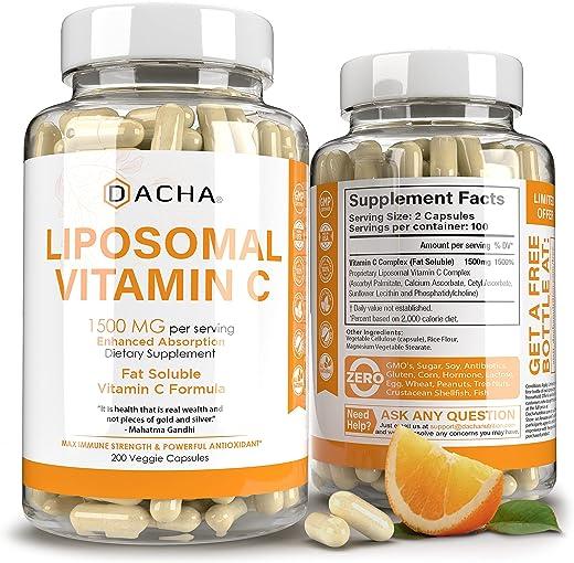 DACHA Nutrition Natural Liposomal Vitamin C - Immune System & Collagen Booster,...
