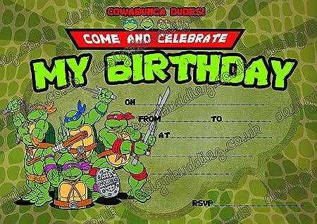 10 x invitaciones para fiesta de cumpleaños de las Tortugas ...