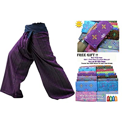"""HITHOT""2 TONE Thai Fisherman Pants Yoga Trousers FREE SIZE Plus Size Cotton"