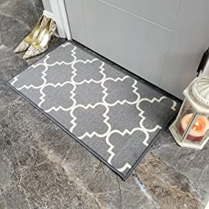 Doormat 18x30 Gray Trellis Kitchen Rugs and mats | Rubber Backed Non Skid Rug Living Room Bathroom Nursery Home Decor Under Door Clearance Entryway Floor Carpet Non Slip Washable | Made in Europe