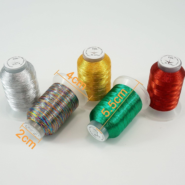 New brothread 20 Metallic Maschinen Stickgarn 500M f/ür Computerized Stickerei und Dekoratives N/ähen