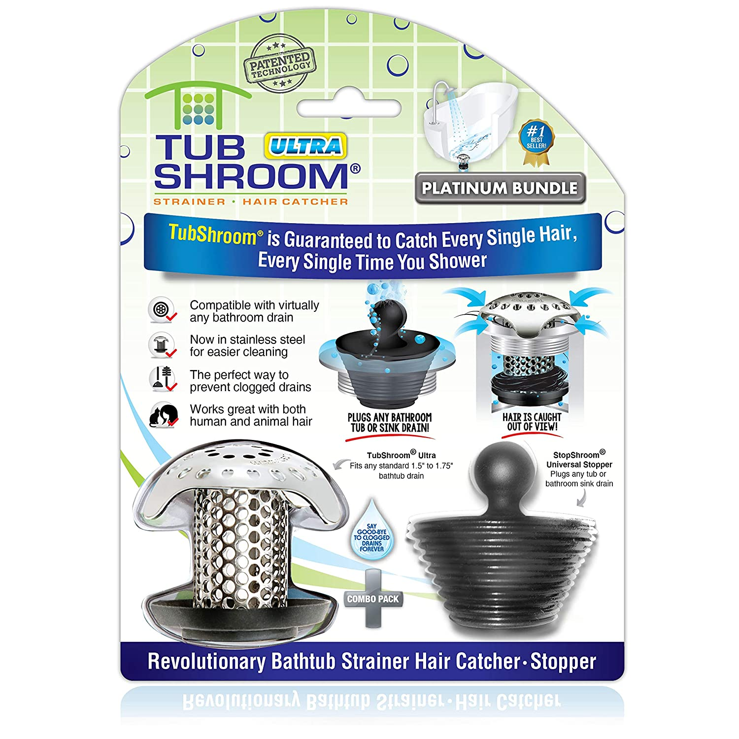 TubShroom Ultra Revolutionary Bath Tub Drain Protector Hair Catcher/Strainer/Snare, Stainless Steel
