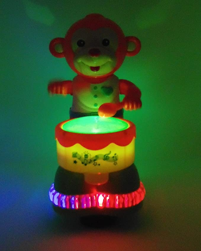 Kids Interactive Drum Monkey With 4d Light Music Great Gift For Kids Toy