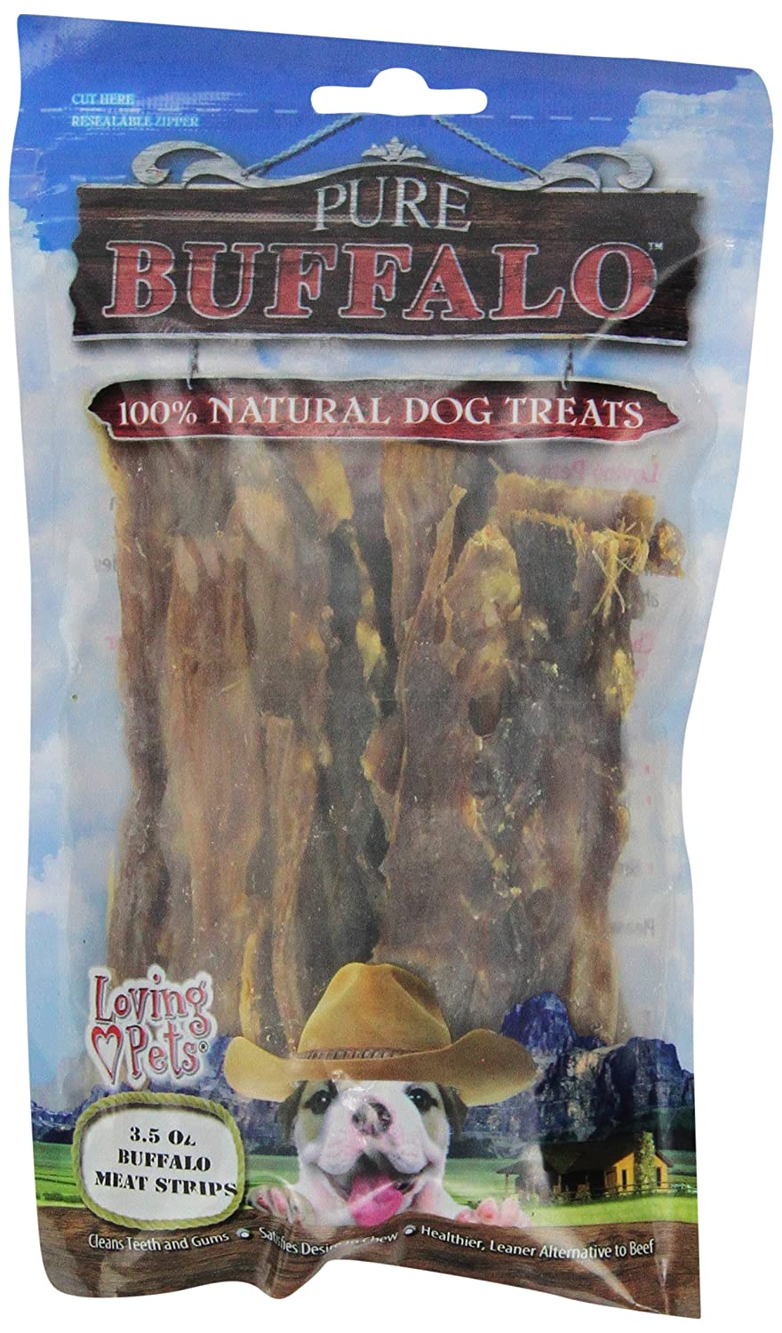 Pure Buffalo Meat Strips - 3.5 Oz. Loving Pets Products 5667
