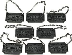 Decanter Tags - Liquor Decanter Labels (Set of 8, Rustic Silver) Liquor Tags: Whiskey, Bourbon, Scotch, Gin, Rum, Vodka, Tequila & Brandy - Liquor Bottle/Carafe Labels, Alcohol Name Tags for Bottles