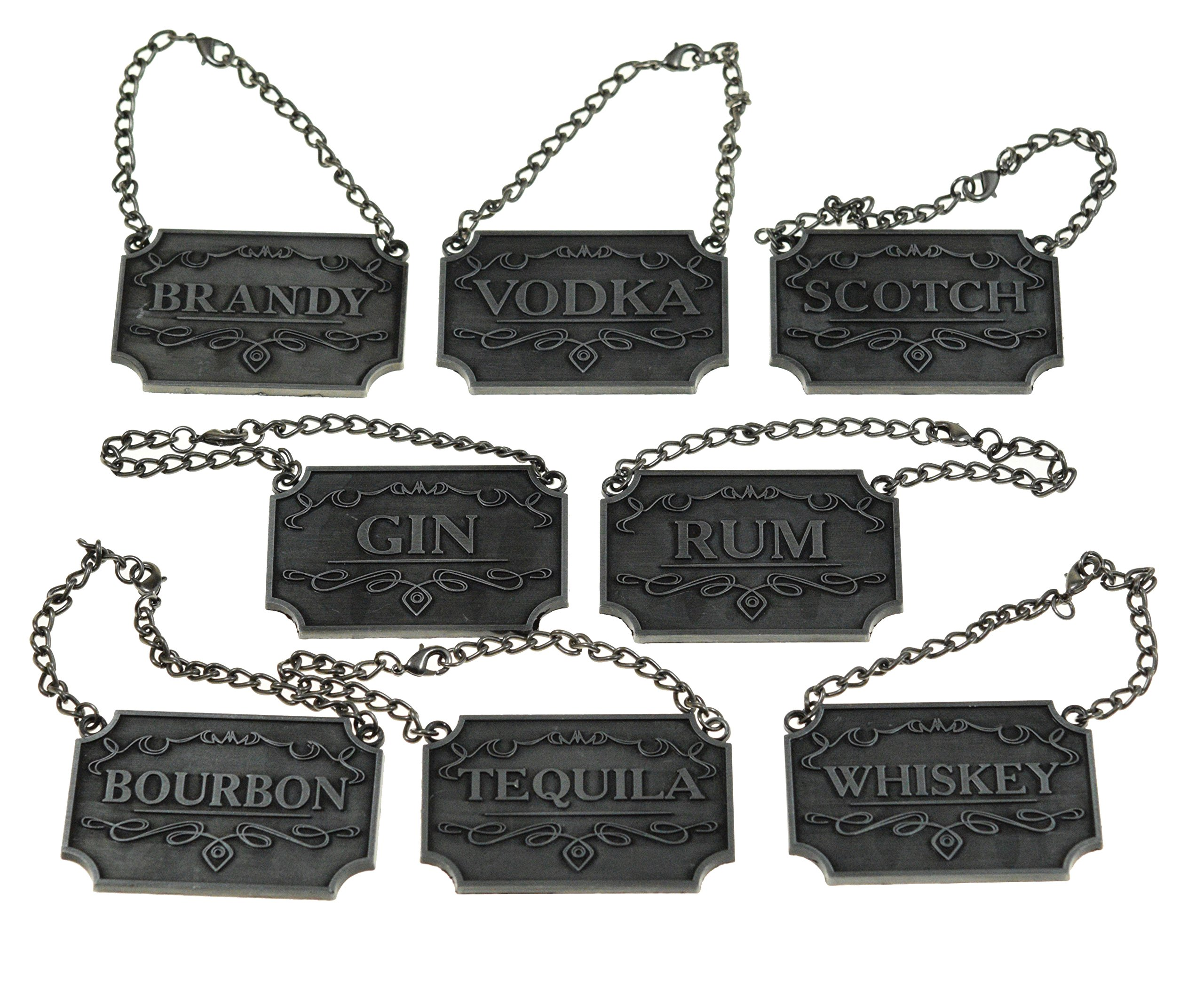 Rustic Silver Liquor Decanter Tags/Labels Set of Eight - Whiskey, Bourbon, Scotch, Gin, Rum, Vodka, Tequila and Brandy - Adjustable Chain for the Perfect Fit (Rustic Silver)