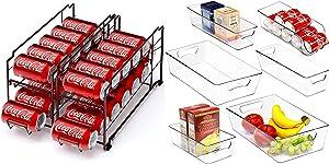 Simple Houseware Stackable Beverage Soda Can Dispenser + Plastic Freezer Storage Organizer