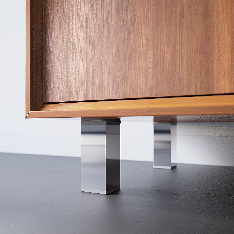 Patas para muebles altura regulable +20mm Dise/ño: Cromo Altura: 120mm | Tornillos incluidos Sossai MFV1-CH 4 piezas Perfil cuadrado: 40 x 40 mm