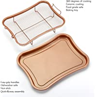 Gelinzon Copper Crisper Tray Oven Air Fryer Pan (Rhombus)