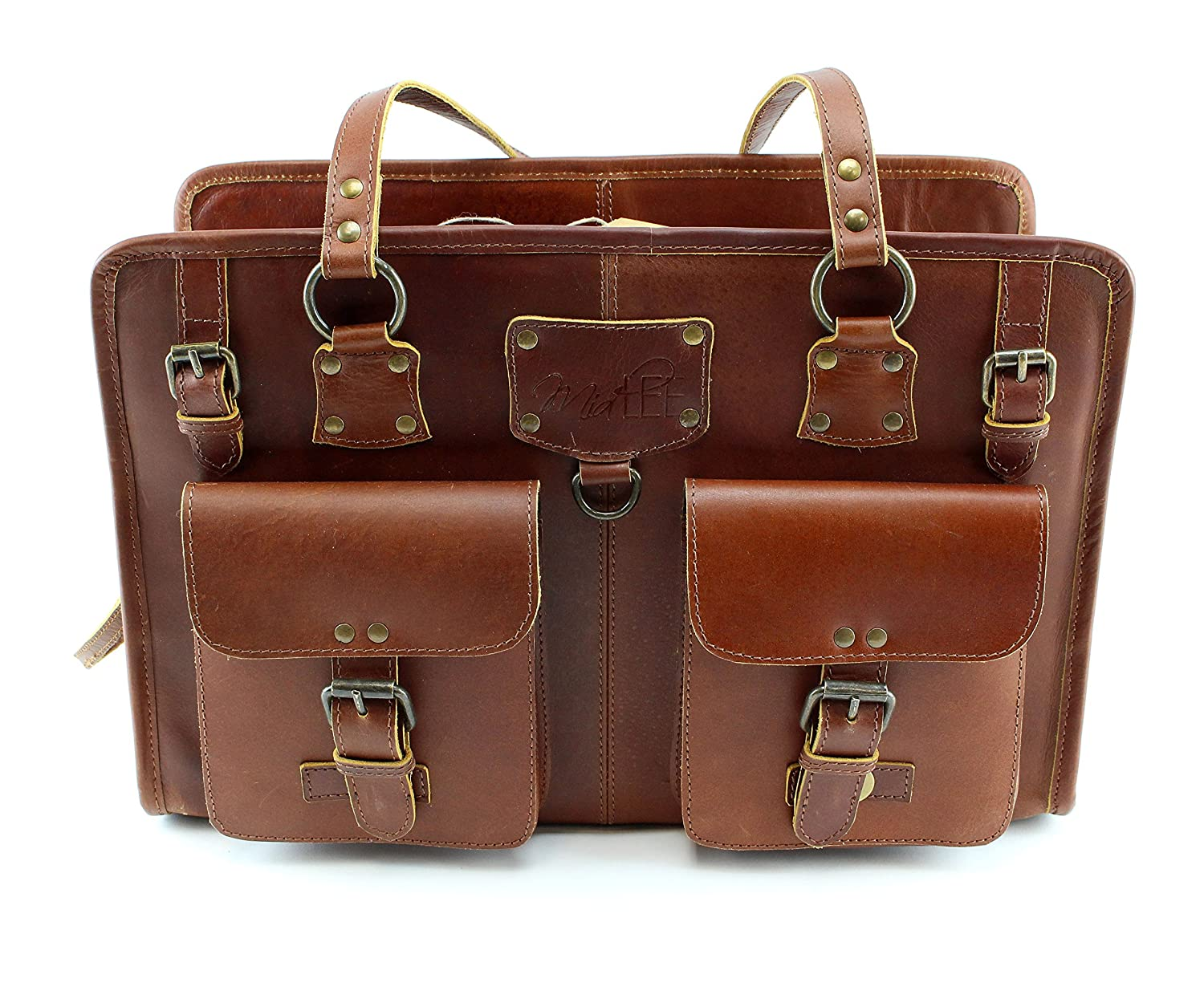 Midlee Brown Leather Dog Purse