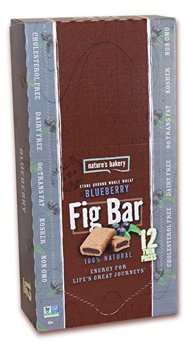 Nature's Bakery Whole Wheat Fig Bar, Blueberry, Vegan + Non-GMO, 12 Count Box