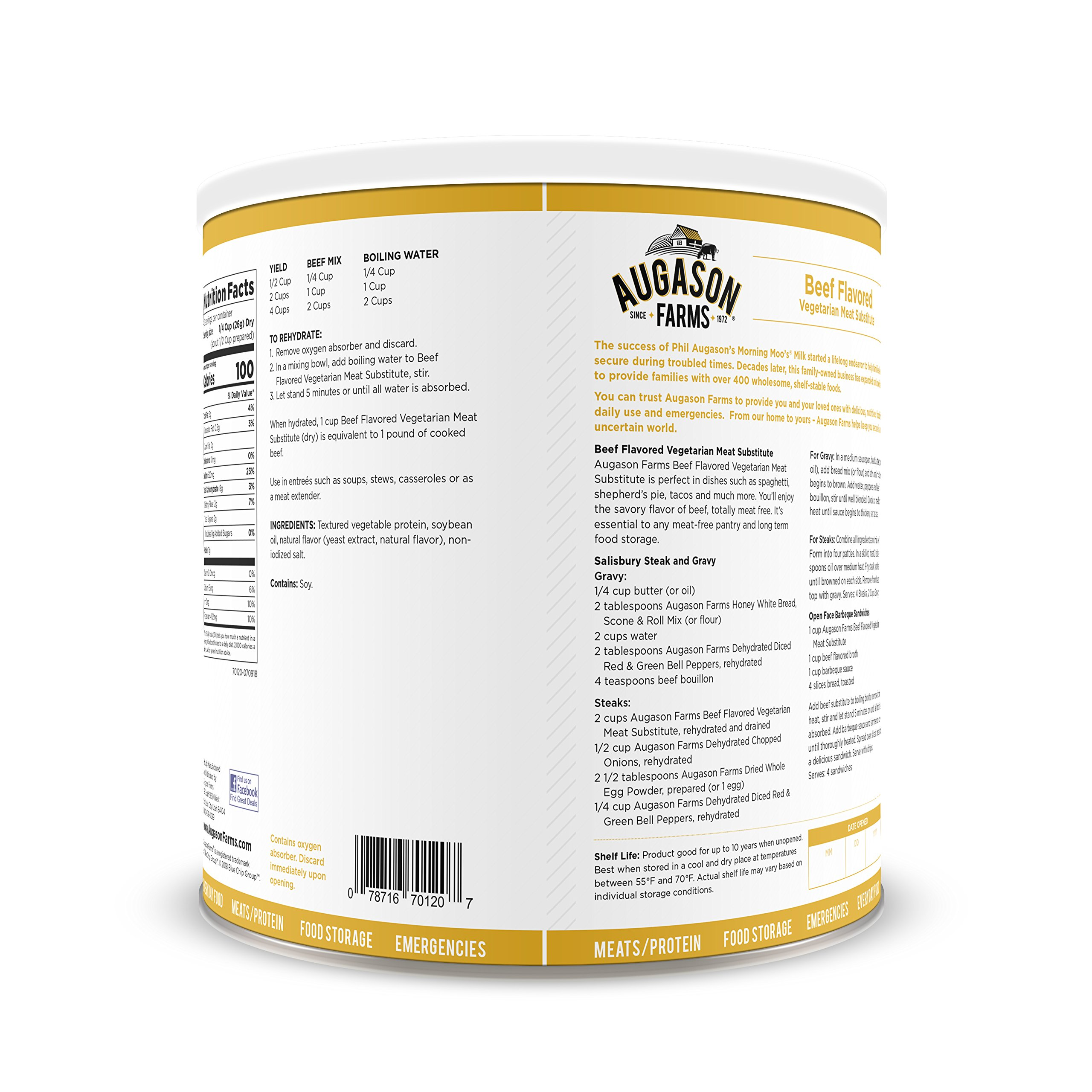 Augason Farms Beef Flavored Vegetarian Meat Substitute 2 lbs 5 oz No. 10 Can by Augason Farms (Image #2)