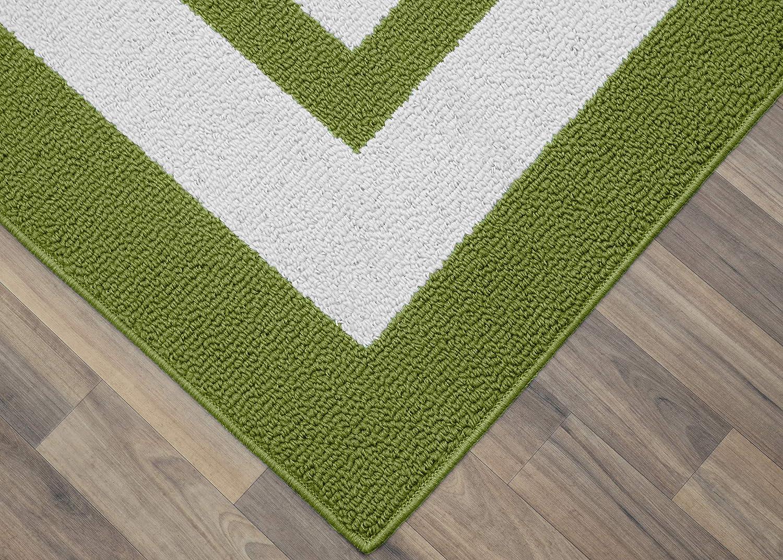 Borderline Area Rug Rectangular Indoor Outdoor Floor Decor Grasshopper Green 2x5