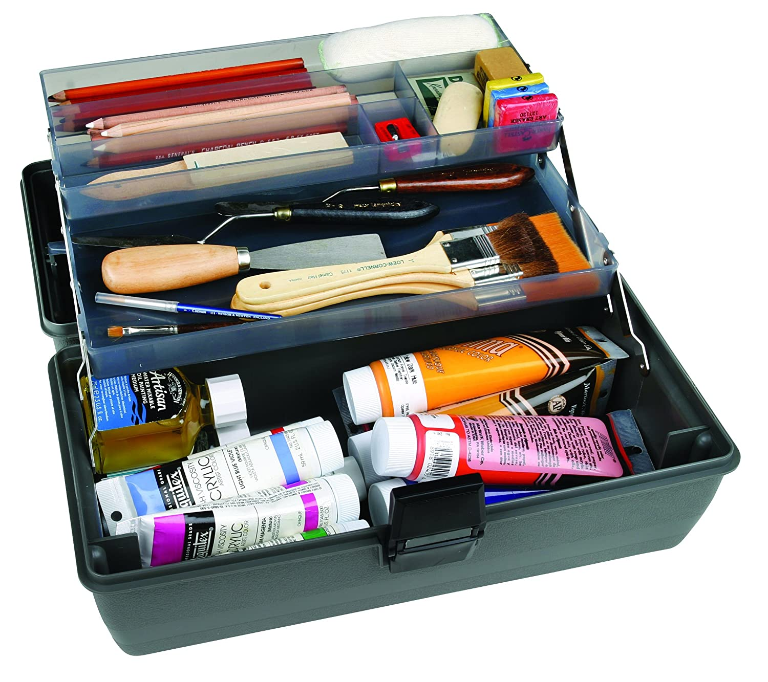 Amazon.com: ArtBin Upscale 2 Tray Tool Box With Metal Links  Slate Gray Art  Supply Container, 8399
