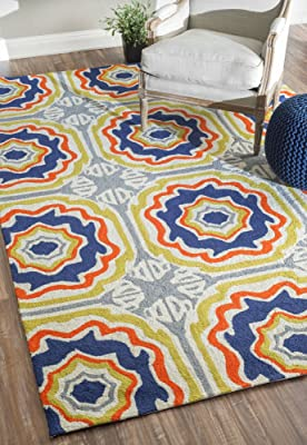 nuLOOM Multi Hand Hooked Sevilla Tiles Indoor/ outdoor area rug Area Rug, 5' x 8'