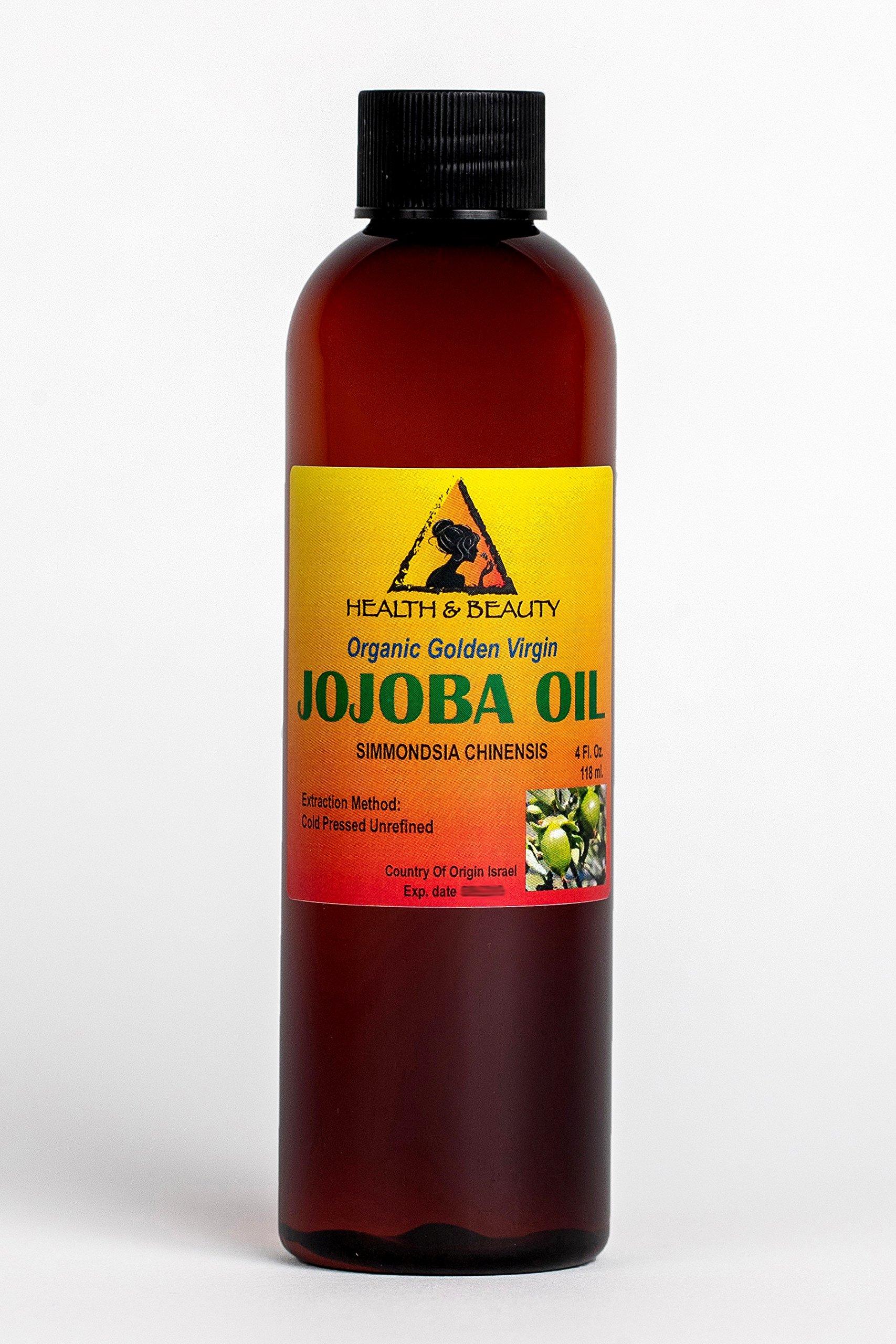 Jojoba Oil Golden Pure Organic Carrier Unrefined Raw Virgin Cold Pressed 4 oz