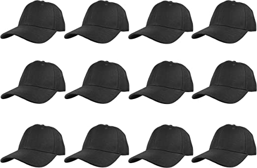 Lot 12pcs Man//Woman Plain Fitted  Baseball Solid Blank Color Cap//Hat  5 size