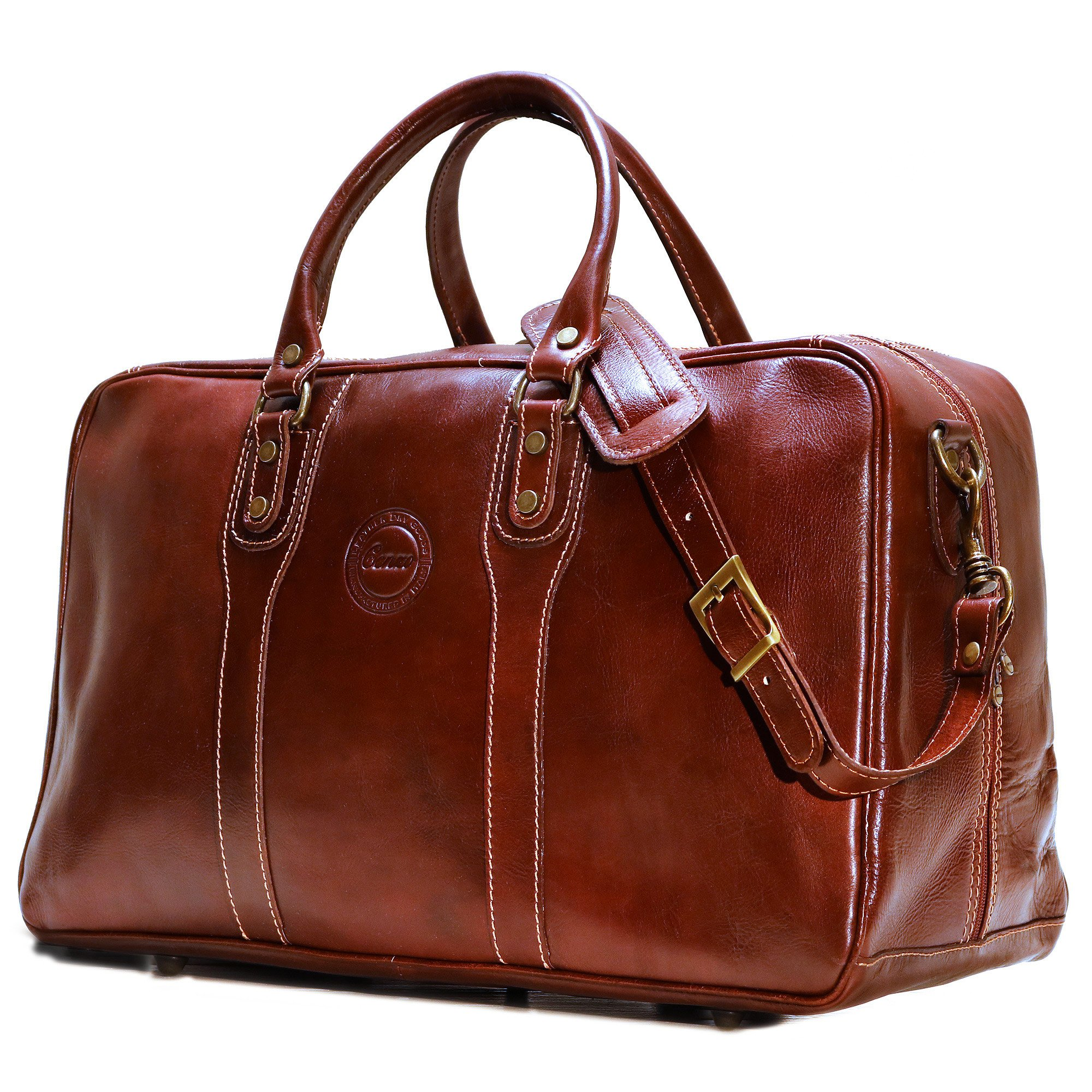 Cenzo Trunk Duffle Vecchio Brown Italian Leather Weekender Travel Bag by Cenzo