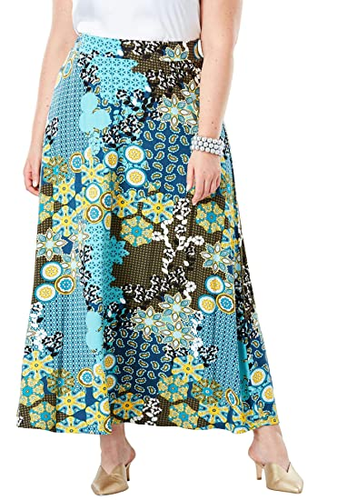 bd4382571b Jessica London Women's Plus Size Tall Everyday Knit Maxi Skirt - Aqua Mixed  Pattern, ...