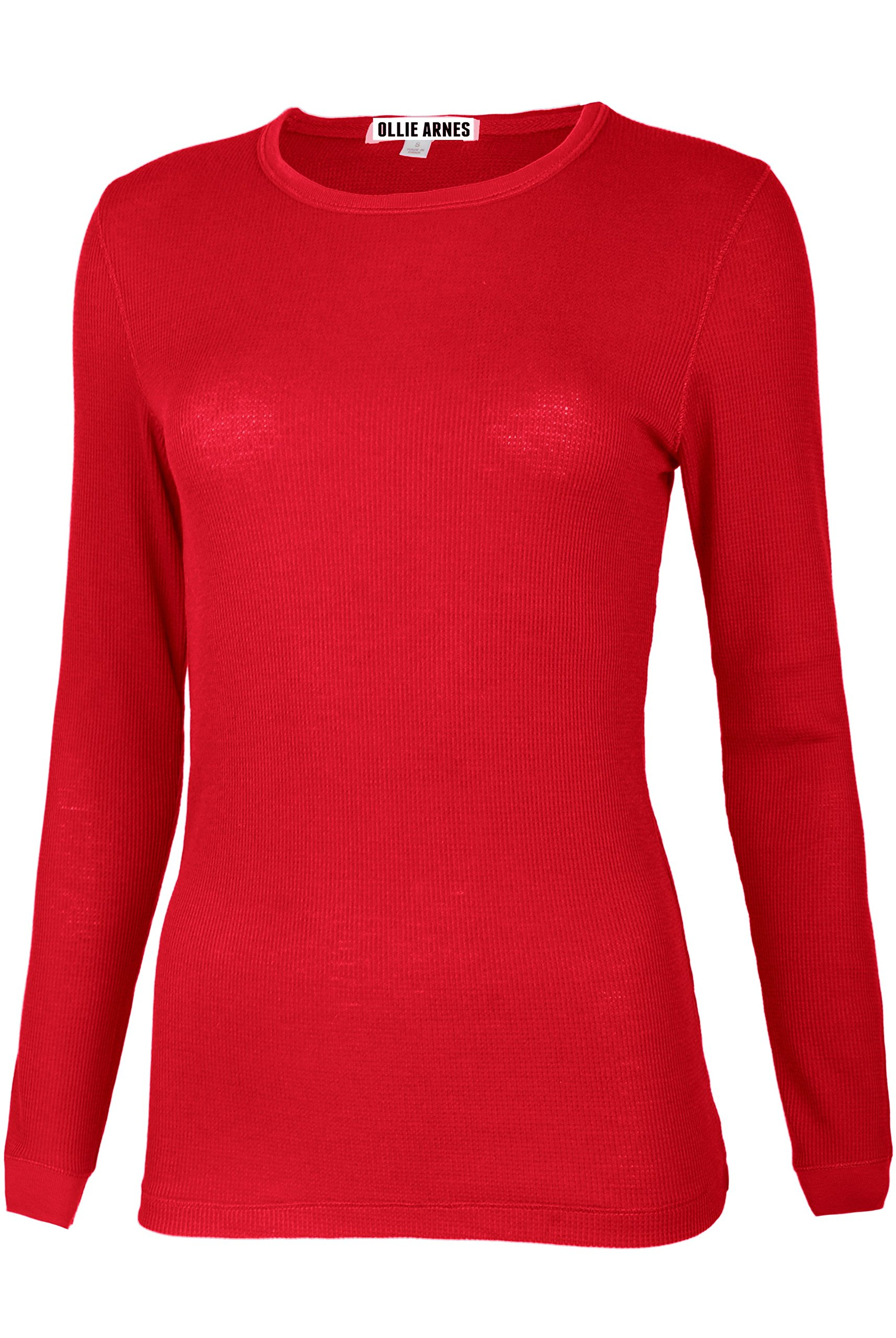 Ollie Arnes Women's Round Neck Fitted Long Sleeve Cool Sweater Shirt Top 99_RED 2X