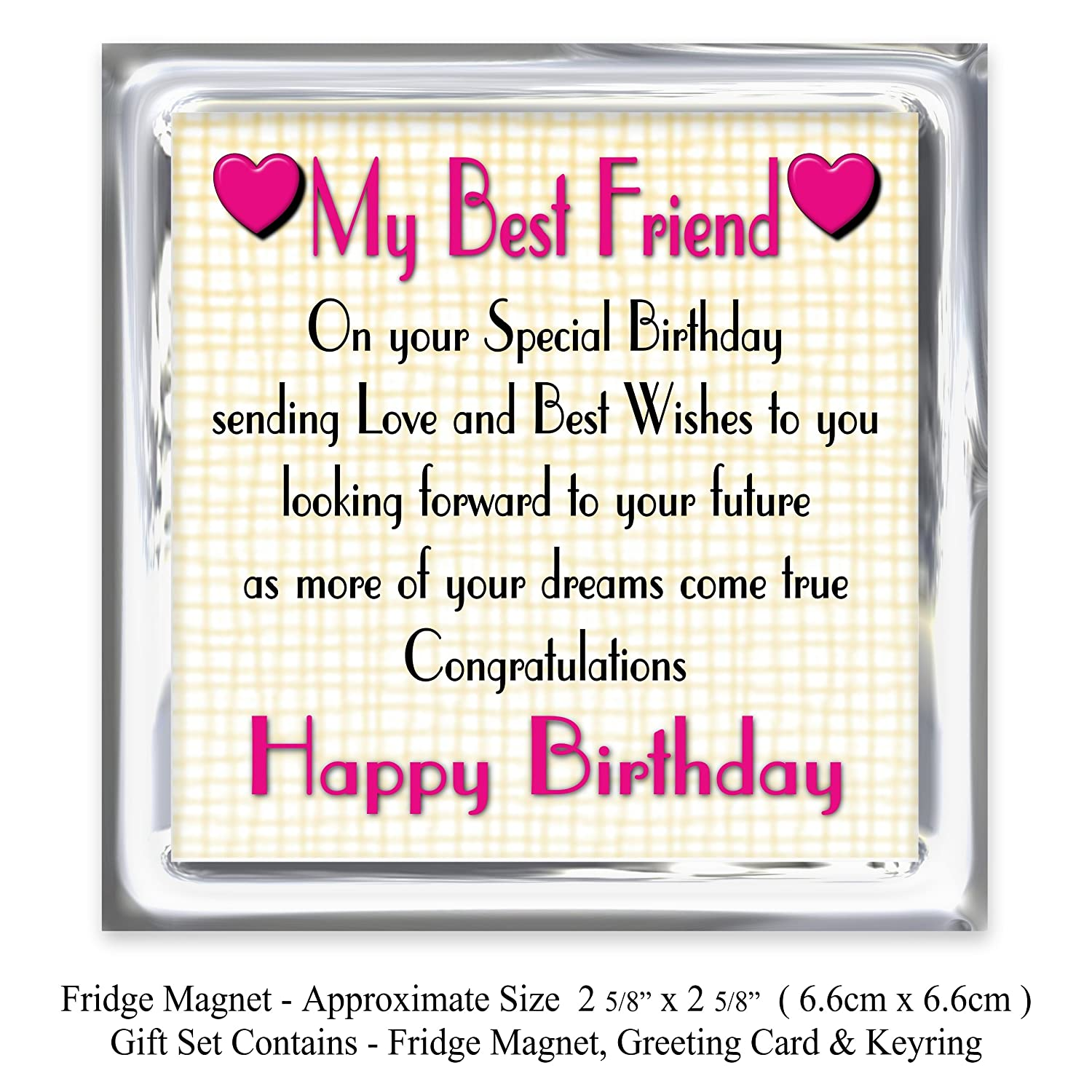 best friend 21st happy birthday gift set card keyring fridge